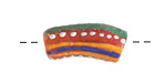 African Hand-Painted Coral Powder Glass (Krobo) Bead 18-25x10mm