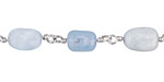 Aquamarine Nugget Silver Finish Bead Chain