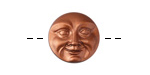 Czech Glass Copper Moon Face Button 17mm