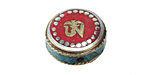 "Tibetan White Brass & Brass ""Om"" Coin Bead w/ Coral & Turquoise 21mm"