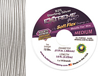 "Soft Flex Extreme Sterling Silver .019"" (Medium) 19 Strand Wire 10ft."