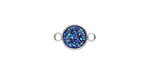 Metallic Sea Crystal Druzy Coin Link in Silver Finish Bezel 14x9mm