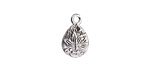 Antique Silver (plated) Teardrop Lotus Charm 10x15mm
