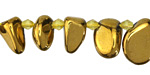 Metallic Gold Luster Quartz Tumbled Drops 8-14x10-18mm