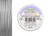 Twisted Artistic Wire Tarnish Resistant Silver 18 gauge, 10 feet
