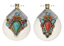 Tibetan White Shell & White Brass Large Drop Pendant w/ Lapis, Turquoise, & Coral 42x56mm