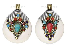 Tibetan White Shell & White Brass Large Drop Pendant w/ Lapis, Turquoise, & Coral 42x56mm
