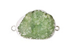 Apple Green Druzy Pendant Link set in Silver (plated) 28-40x18-26mm