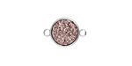 Metallic Bronze Crystal Druzy Coin Link in Silver Finish Bezel 16x11mm