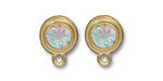 TierraCast Gold (plated) Stepped Bezel Ear Post w/ Crystal AB 12x17mm