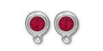 TierraCast Rhodium (plated) Stepped Bezel Ear Post w/ Siam Ruby Crystal 12x17mm