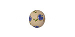 Golem Studio Blue Tulips Carved Ceramic Round Bead 12-13x14mm