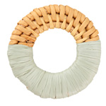 Seafoam Raffia Wrapped Natural Rattan-Style Woven Ring Focal 39-42mm