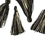 Jet w/ Metallic Gold Thread Tassel 30mm