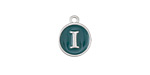 "Peacock Green Enamel Silver Finish Initial Coin Charm ""I"" 12x14mm"