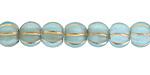 Czech Glass Aquamarine w/ Gold Wash Large Hole Melon Round 8mm
