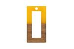 Walnut Wood & Saffron Resin Open Rectangle Focal 15x28mm