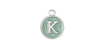 "Sweet Mint Enamel Silver Finish Initial Coin Charm ""K"" 12x14mm"