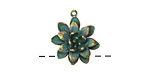 Zola Elements Patina Green Brass Dahlia Charm 16x19mm