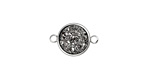 Metallic Silver Crystal Druzy Coin Link in Silver Finish Bezel 16x11mm