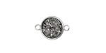 Metallic Silver Crystal Druzy Coin Link in Silver Finish Bezel 16x11mm