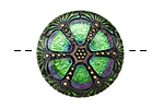 Czech Glass Pink & Green Rose Window Button 27mm