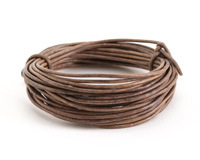 Natural Gray Round Leather Cord 2mm