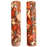 Orange Impression Jasper & Pyrite Long Thin Rectangle Pendant Pair 10x48mm