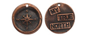 "The Lipstick Ranch Antique Copper (plated) Pewter ""My True North"" Compass Wax Seal Charm 20mm"