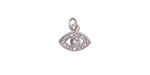 Clear Pave CZ Rhodium (plated) Evil Eye Charm 11x12mm