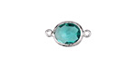 Sea Green Faceted Crystal in Silver (plated) Textured Bezel Oval Focal Link 18x10mm