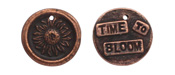 "The Lipstick Ranch Antique Copper (plated) Pewter ""Time To Bloom"" Sunflower Wax Seal Charm 20mm"