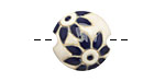 Golem Studio Blue Delft Flower Carved Ceramic Lentil 17mm