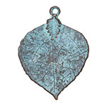 Greek Copper (plated) Patina Lime Leaf Pendant 34x45mm