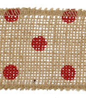 "Red Polka Dot 2.25"" Burlap Wire Ribbon"