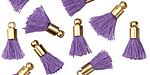 Purple w/ Gold (plated) Bead Cap Tiny Thread Tassel 14mm