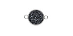 Metallic Jet Crystal Druzy Coin Link in Silver Finish Bezel 16x11mm