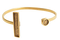 Nunn Design Antique Gold (plated) Rectangle/Circle Bezel Cuff Bracelet