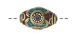 Tibetan White Brass & Brass Rice Bead w/ Lapis, Coral & Turquoise Mosaic 23-25x14-15mm
