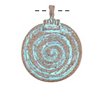 Greek Copper (plated) Patina Spiral Pendant 29x37mm