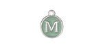 "Sweet Mint Enamel Silver Finish Initial Coin Charm ""M"" 12x14mm"
