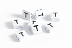 "White Enamel 2-Hole Tile Square Bead w/ Letter ""T"" 8mm"
