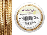 Twisted Artistic Wire Non-Tarnish Brass 18 gauge, 5 yards