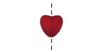 Black Cherry Red Recycled Glass Puffed Heart 11x12mm