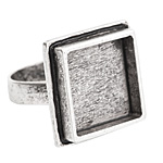 Nunn Design Antique Silver (plated) Traditional Square Adjustable Ring 21mm