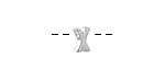 "Sterling Silver Letter ""X"" Charm Slide 6mm"