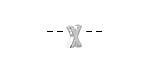"Sterling Silver Letter ""X"" Charm Slide 6mm"