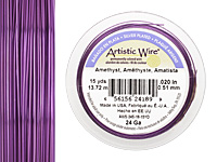 Artistic Wire Silver Plated Amethyst 24 gauge, 15 yards