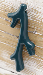 Teal Acrylic Coral Branch Pendant 41x70mm