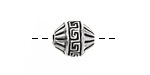 Greek Pewter Meandros Banded Bead 15x12mm